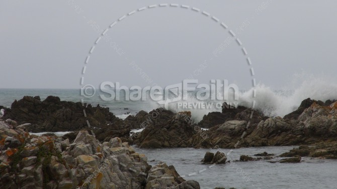 Crashing Waves and Rocks Ministry Stock Photo