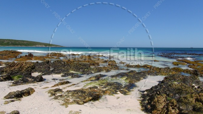 Beach Elements and Horizon of Blue Religious Stock Photo