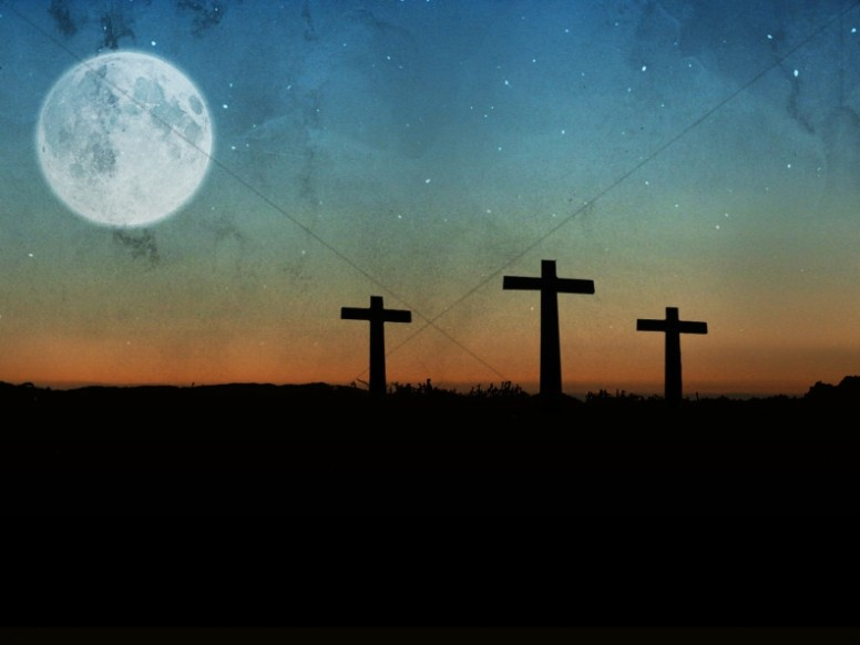 Three Crosses Full Moon Christian Stock Photography