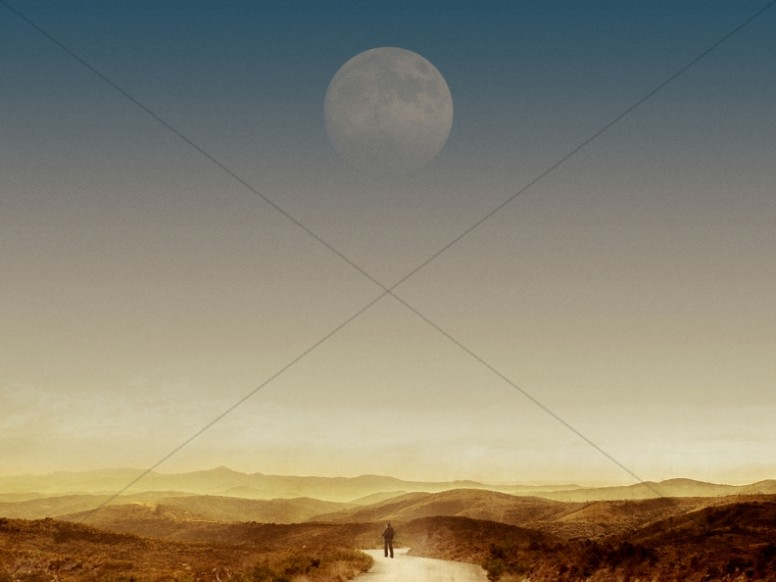 Moon Over Landscape Christian Stock Photo