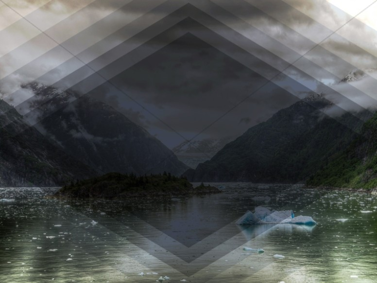 darkened river and mountains landscape church background