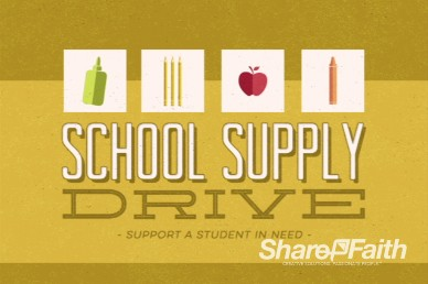 Kids School Supply Drive Graphics Video Loop