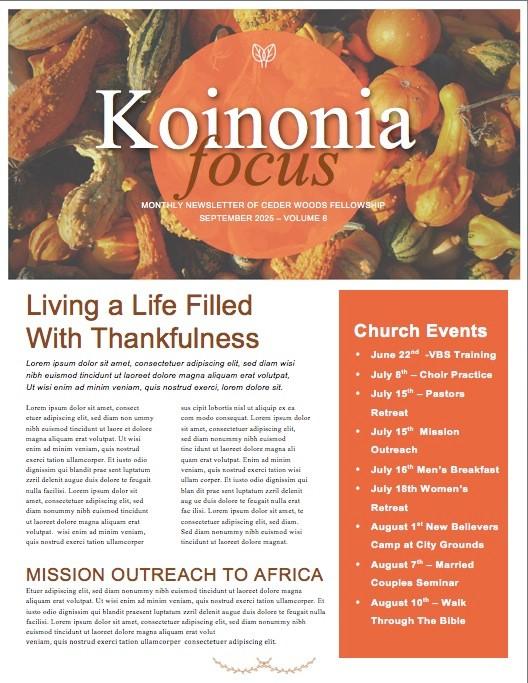 Harvest Party Christian Newsletter