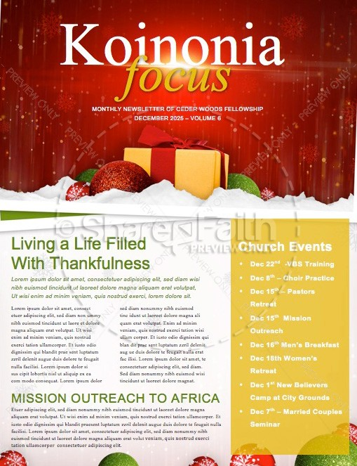 Merry Christmas Happy New Year Religious Newsletter Template ...