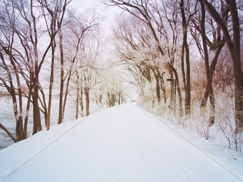 Snowy Path Worship Background