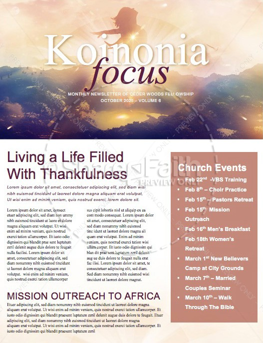 My Redeemer Lives Ministry Newletter | page 1