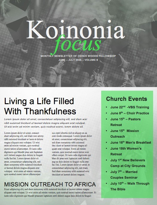 Grad Sunday Religious Church Newsletter