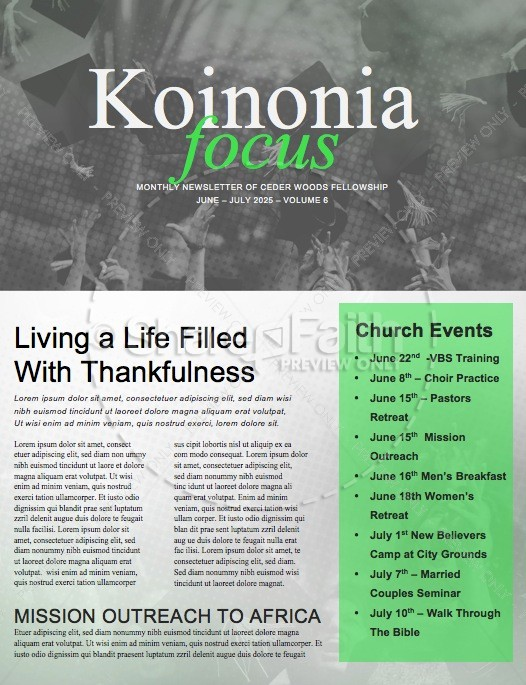 Grad Sunday Religious Church Newsletter