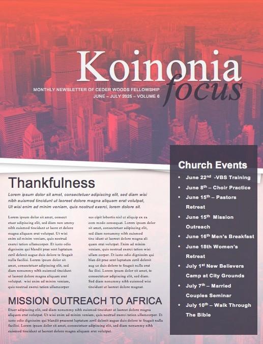 Wake Up Church Newsletter