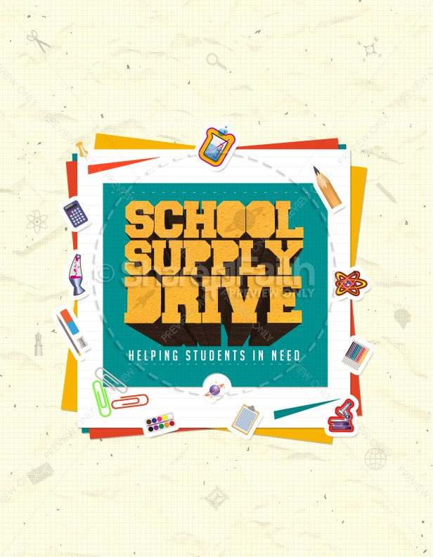 School Supply Drive Ministry Flyer