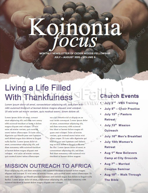 The Fruit of the Spirit Religious Newsletter | page 1