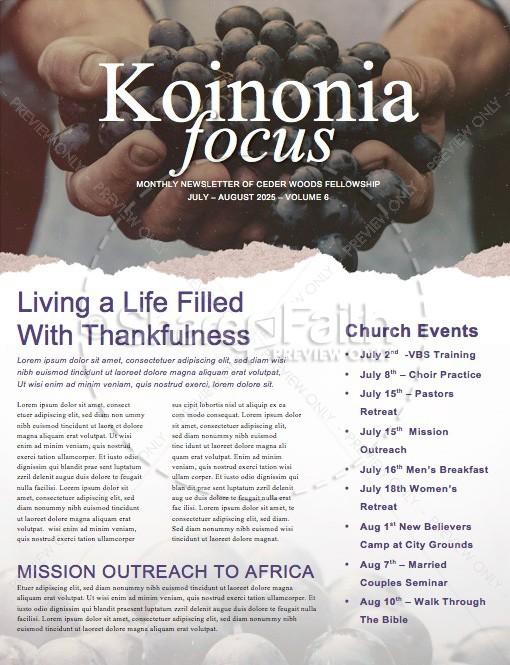 The Fruit of the Spirit Religious Newsletter