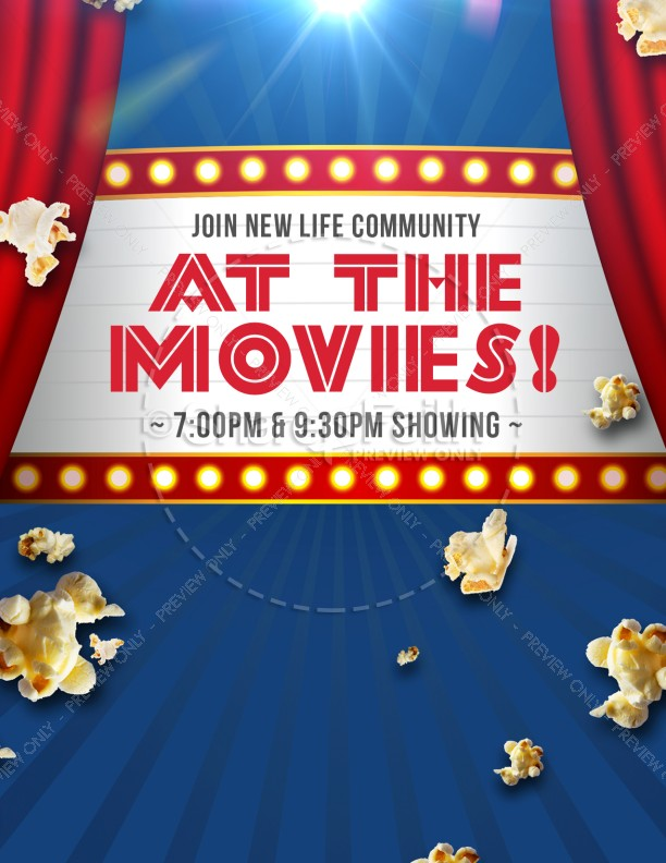 At The Movies Church Night Ministry Flyer Template | Flyer Templates