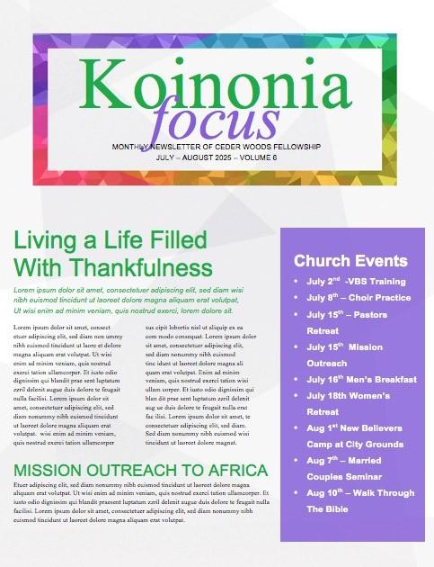 Membership Classes Church Ministry Newsletter