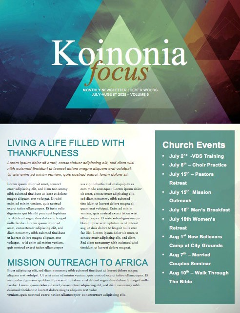 Spring Triangle Prisms Ministry Newsletter