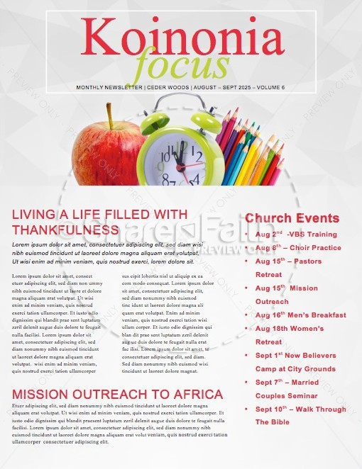 School is Starting Ministry Newsletter | page 1