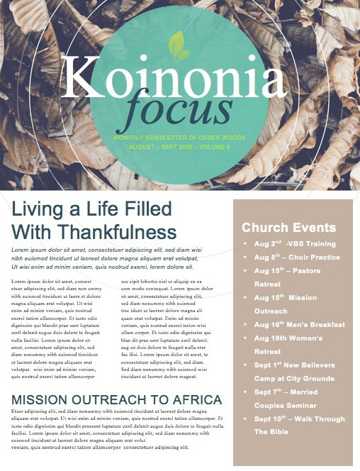 Starting Over Religious Newsletter