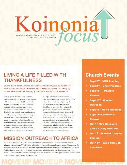Move Up Sunday Church Newsletter
