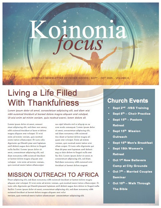 We Give You Thanks Christian Newsletter