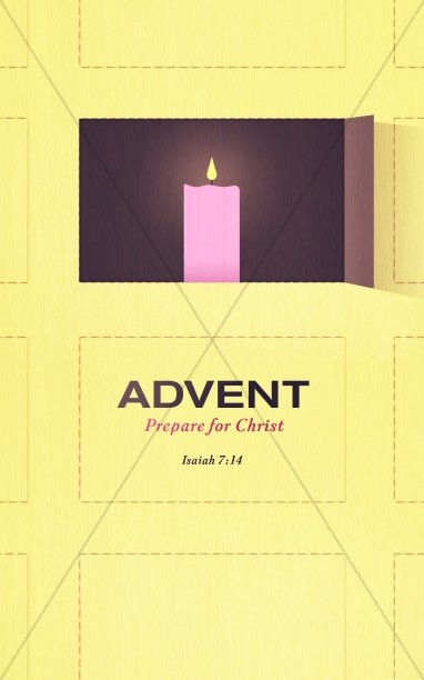 Advent Candle in Window Religious Bulletin