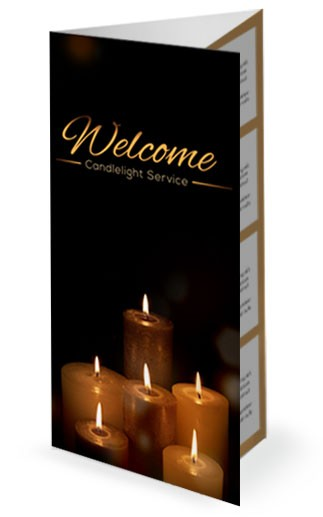 Candlelight Service Religious Trifold Church Bulletin