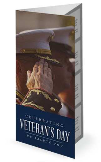 Celebrating Veterans Day We Salute You Church Trifold Bulletin