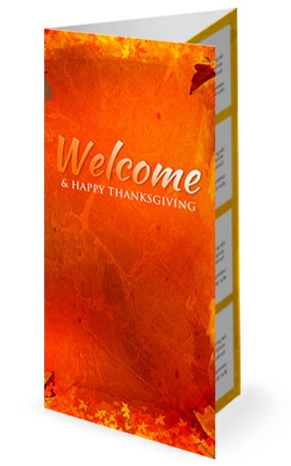 Give Thanks Christian Trifold Church Bulletin