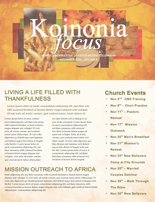 Thanksgiving Fall Christian Newsletter