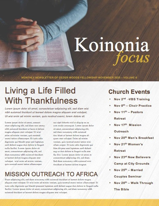 Discovery Classes Ministry Newsletter