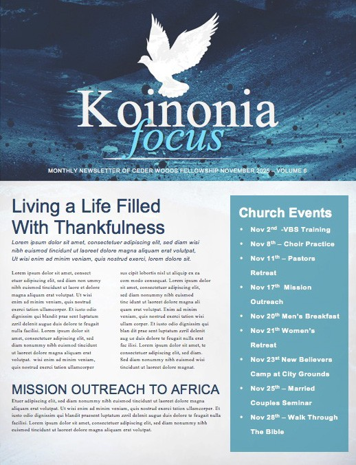 Fall Winter Religious Newsletter
