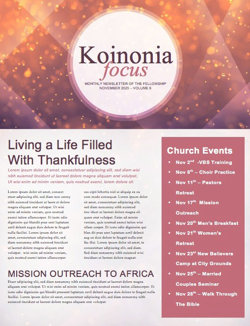 Let There be Light Church Newsletter