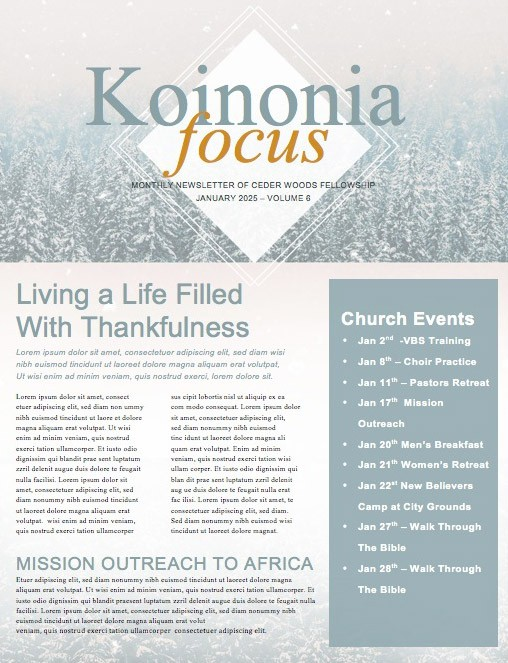 Winter Communion Sunday Church Newsletter