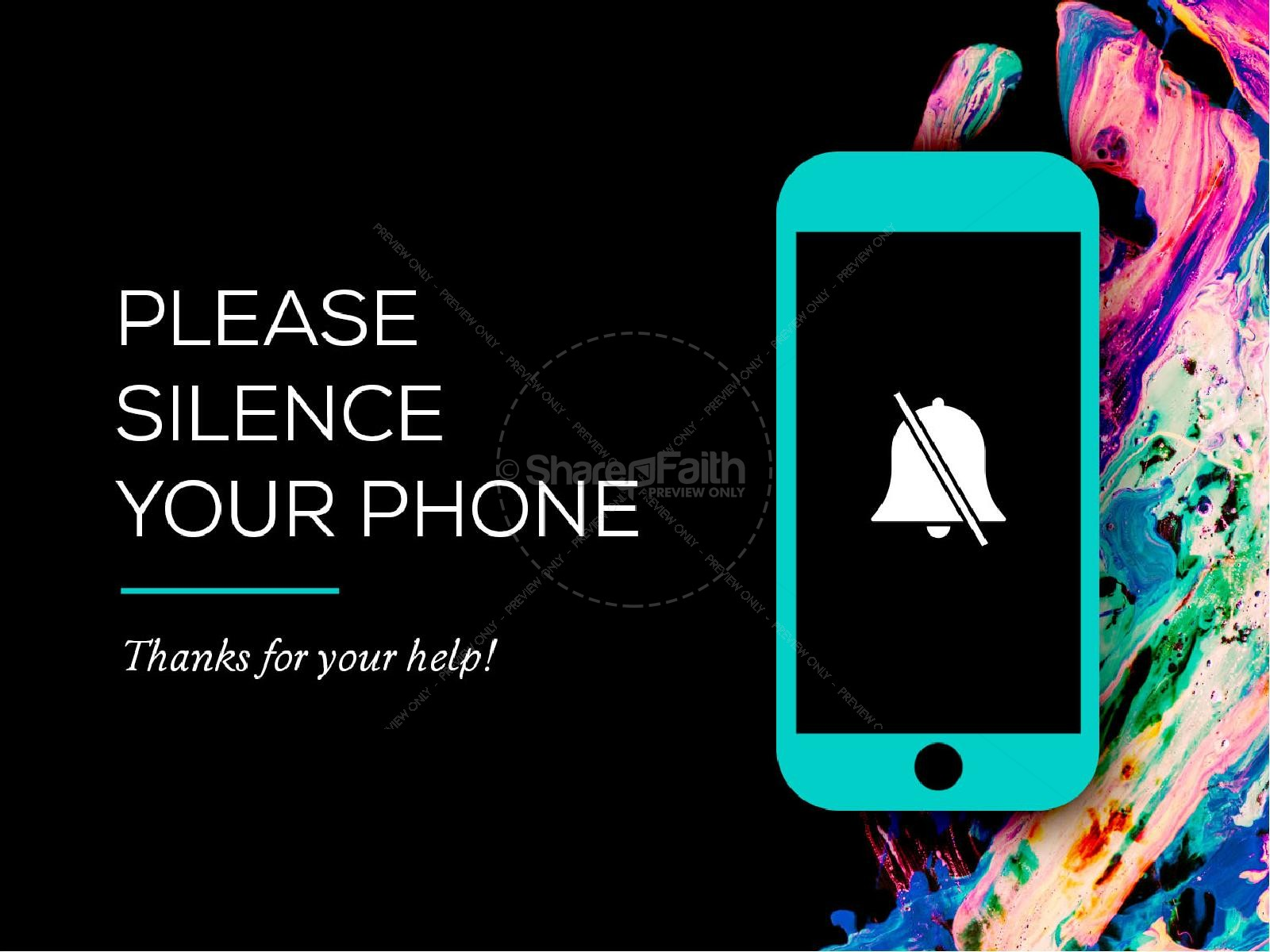 Please Silence Your Phone Color Splash Church PowerPoint