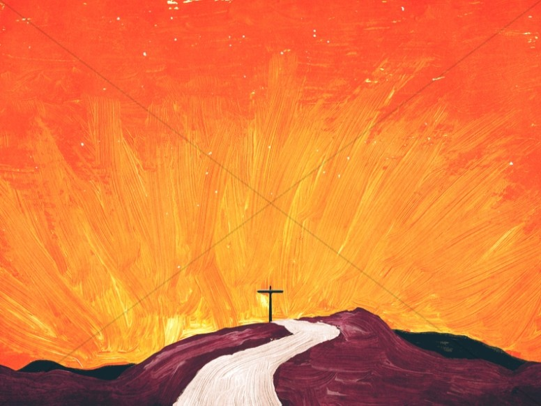 Painted Cross Church Worship Background