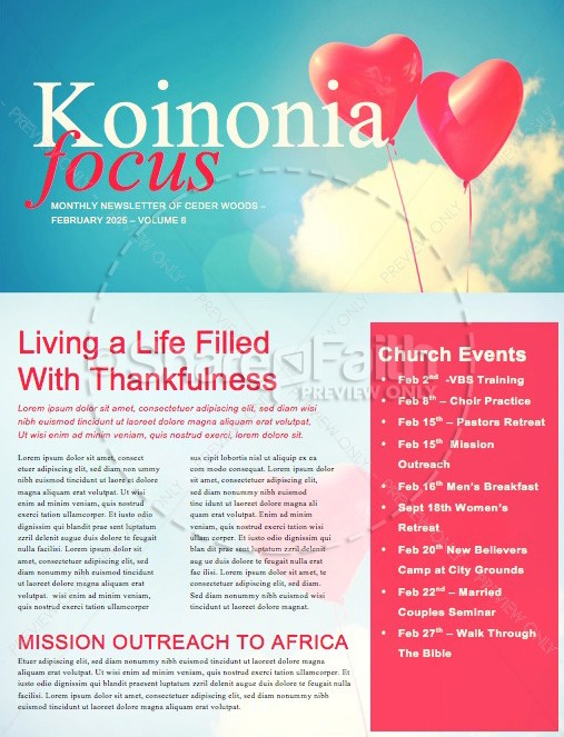 Celebrating Love Valentine's Day Church Newsletter | page 1