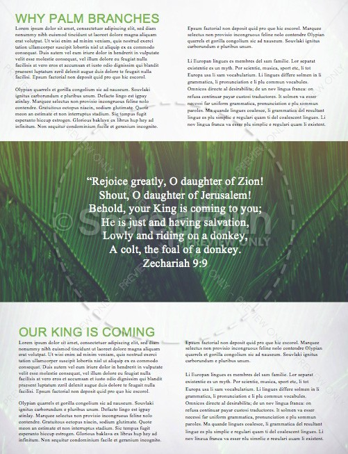 Palm Sunday Hosanna to the King Church Newsletter