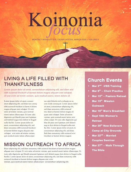 Lead Me to the Cross Church Newsletter