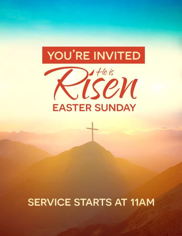 Risen Easter Sunday Church Flyer