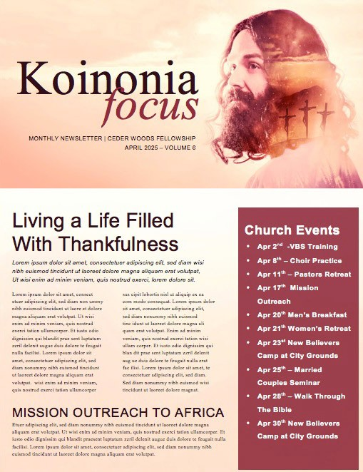 He's Alive Easter Church Newsletter