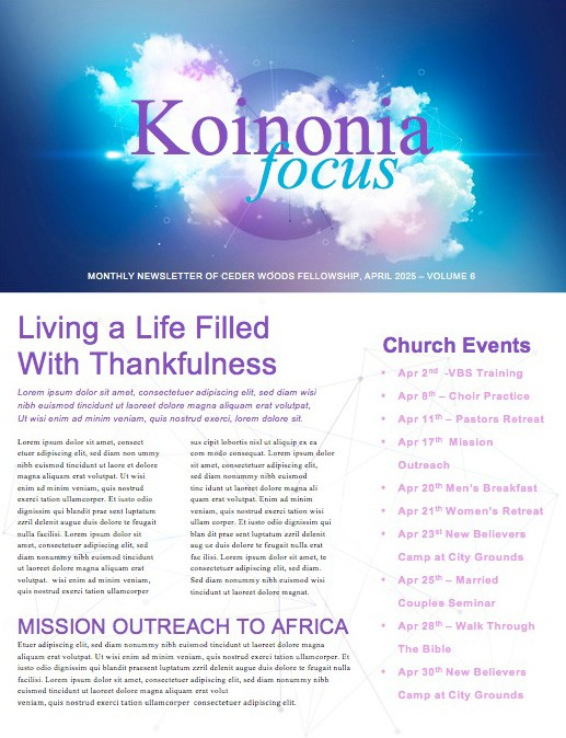 Dream Big Church Newsletter Template