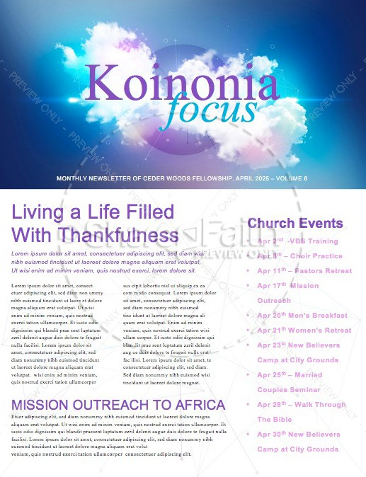 Dream Big Church Newsletter Template | page 1