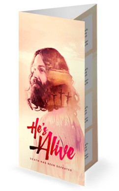 He's Alive Easter Church Trifold Bulletin