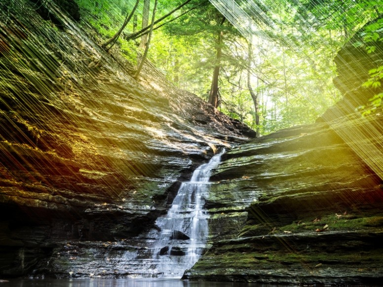 Sun Streak Waterfall Worship Background