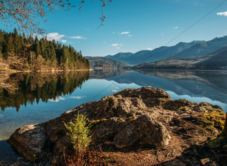 Mountains Reflecting in the Lake Religious Stock Photo
