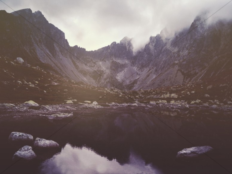 Misty Mountains and Lake Church Worship Background