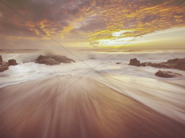 Ocean Waves Sunset Worship Background