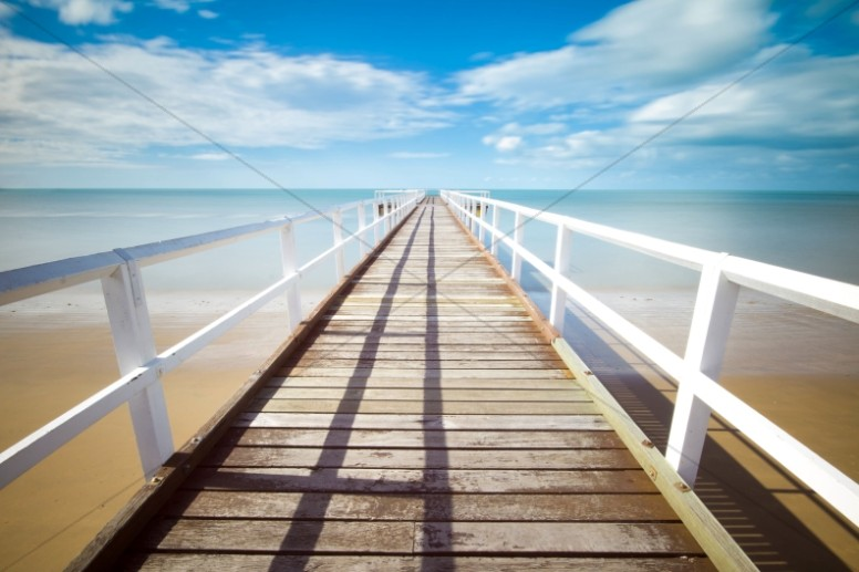Jetty Walkway on the Beach Ministry Stock Photo