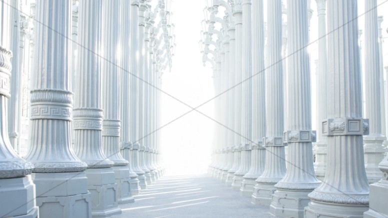 White Columns Religious Stock Photo
