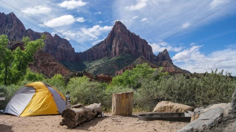 Summer Camping Church Stock Photo