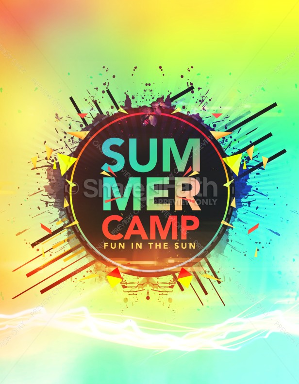 Summer Camp Fun In The Sun Church Flyer Template  Flyer Templates